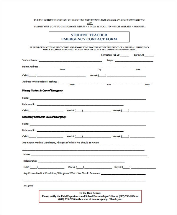 Sample Emergency Contact Form   Documents In Pdf Word