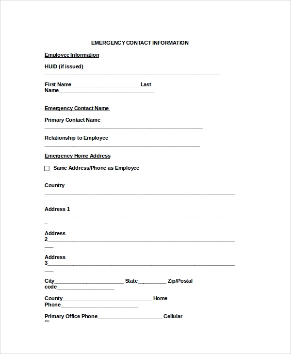 Sample Emergency Contact Form 7 Documents in PDF Word – Emergency Contact Forms