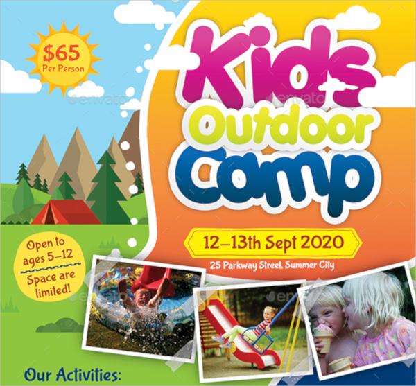 kids outdoor camp flyer template