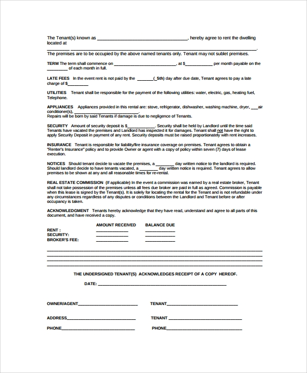Basic Rental Agreement  Lease Agreement Copy