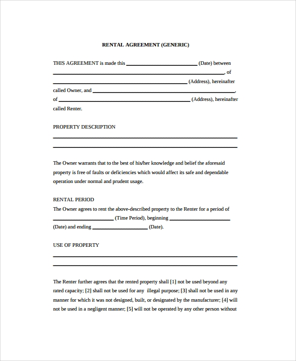 Sample Rental Agreement - 19+ Documents In Pdf, Word