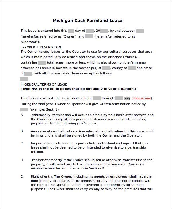 land rental agreement