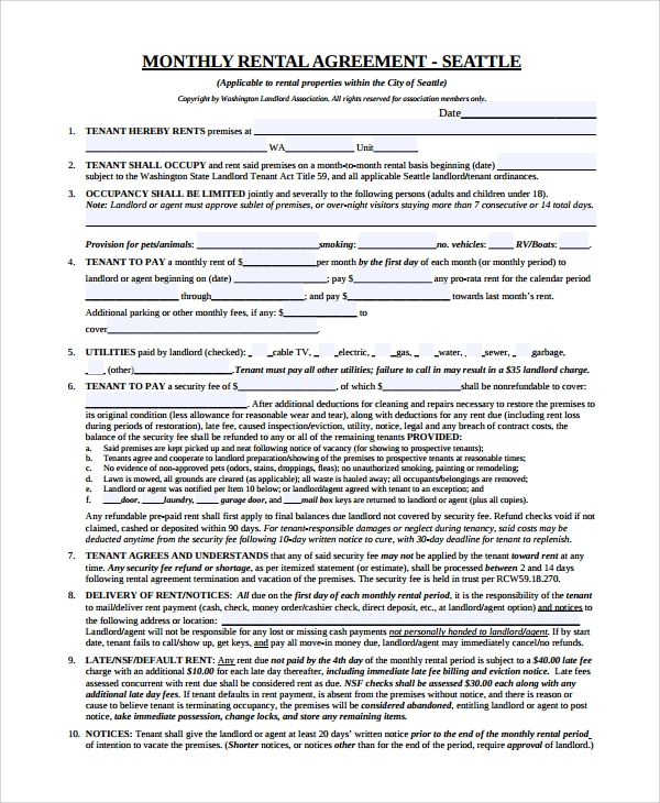 monthly rental agreement