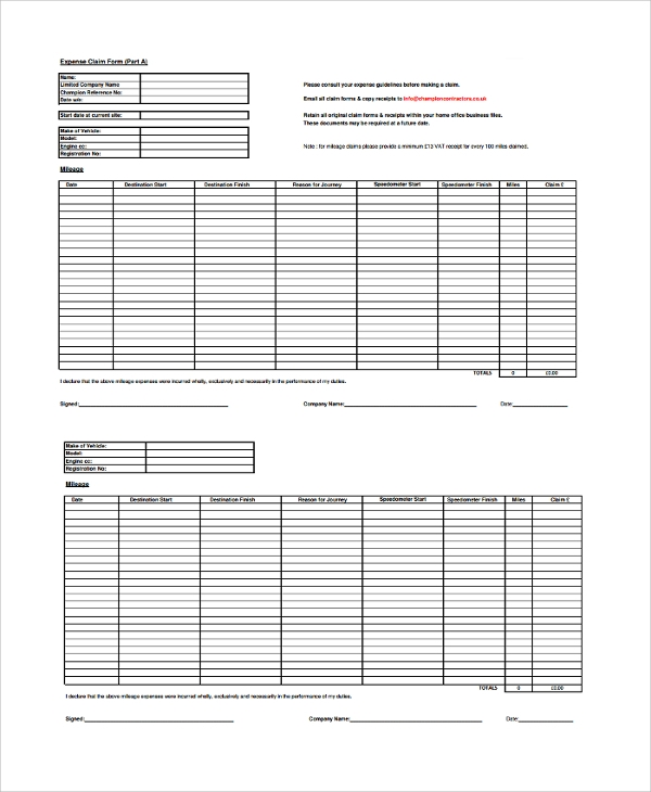 Sample Expense Form 7 Documents in PDF Word – Sample Expense Form