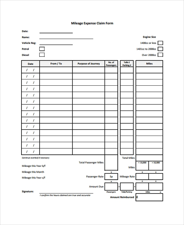 Sample Expense Form   Documents In Pdf Word
