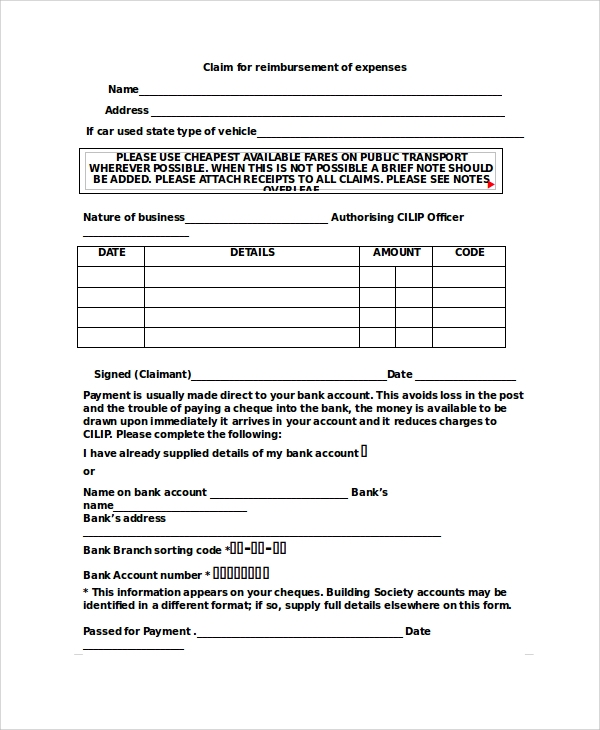 Sample Expense Form 7 Documents in PDF Word – Expense Claim Template