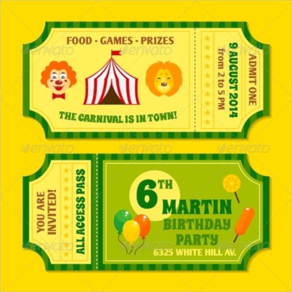 vector circus ticket incitation