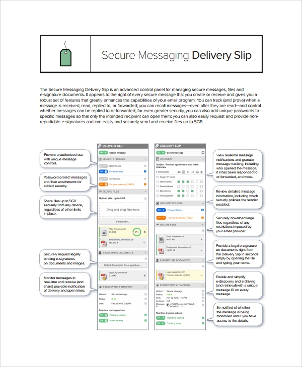 secure messaging delivery slip