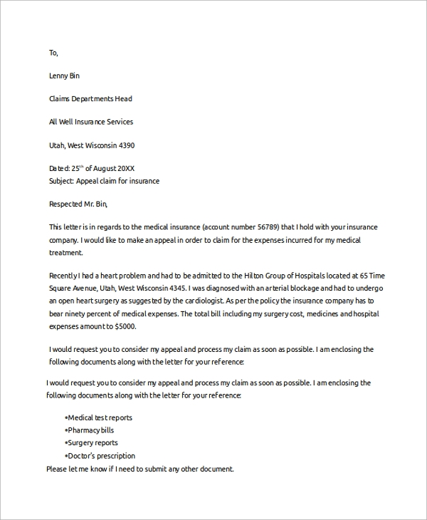 Insurance claim letter northurthwall insurance claim letter spiritdancerdesigns Image collections
