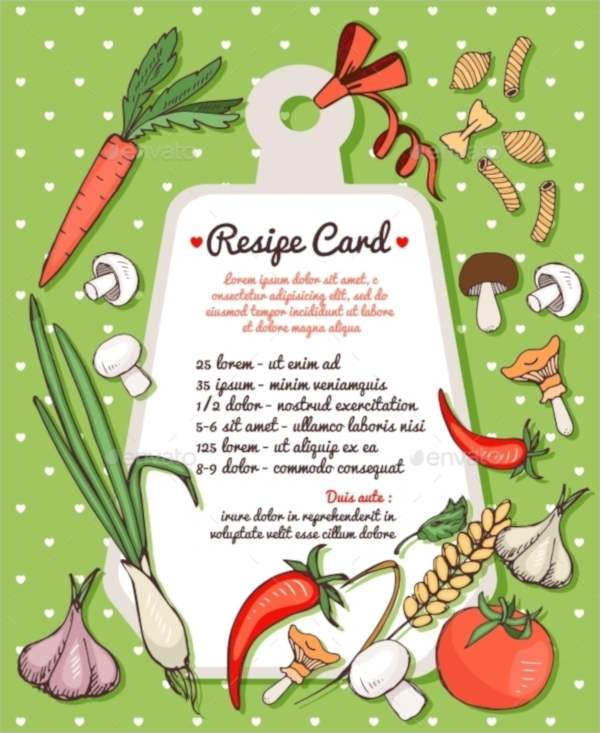 recipe card with fresh vegetables