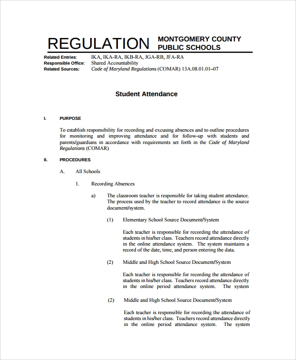 Sample Attendance Policy 6 Documents in PDF – Attendance Policy Template