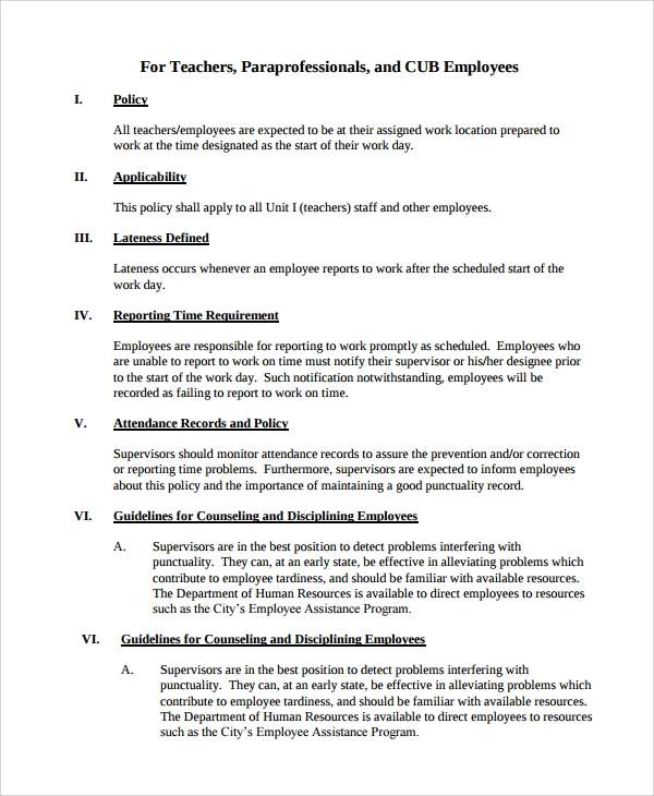 Staff Policy Template 7 Sample Attendance Policy Templates Sample Templates