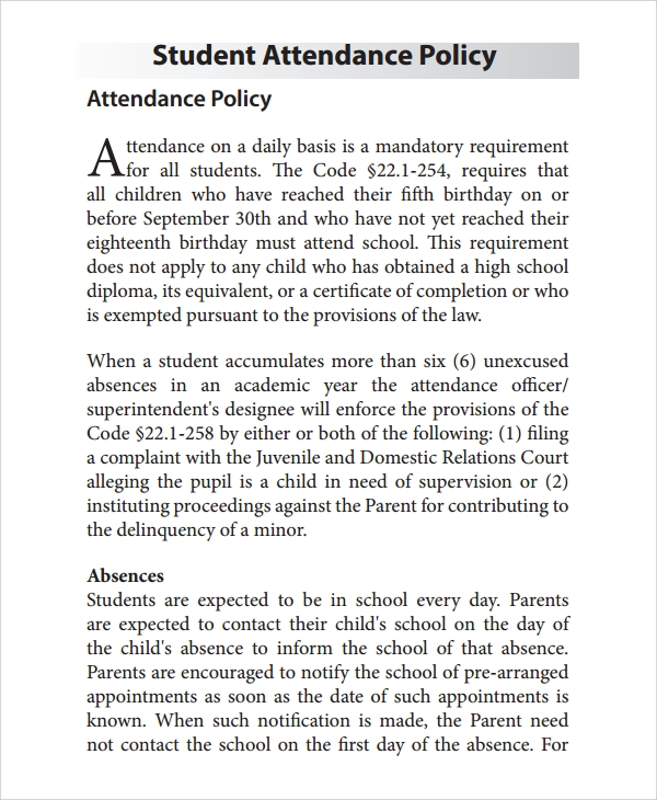 student attendance policy template