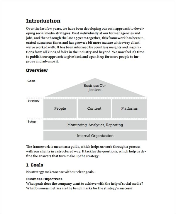 Sample business strategy 7 documents in pdf social media business strategy template flashek Images