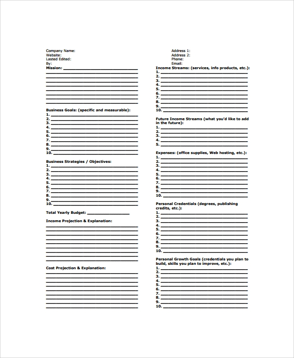 one page business strategy template