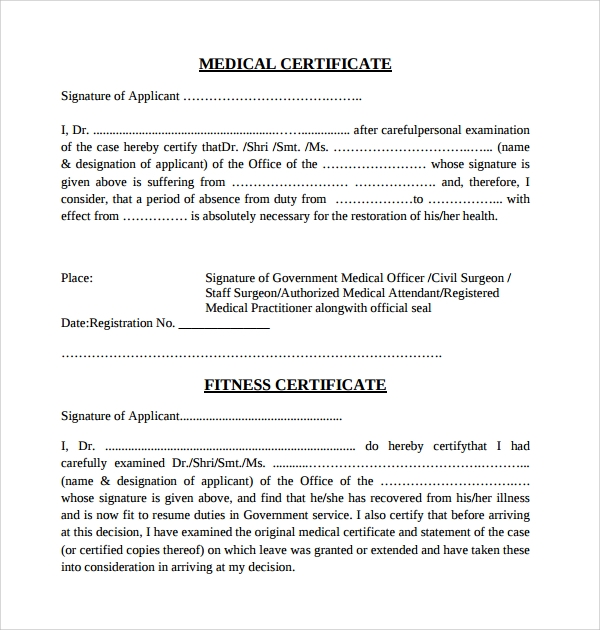 Sample Certificate 32 Documents in Word PDF PSD – Medical Certificate from Doctor