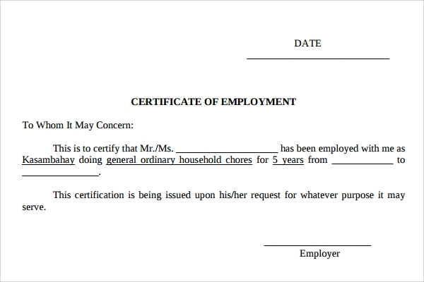 job certificate template