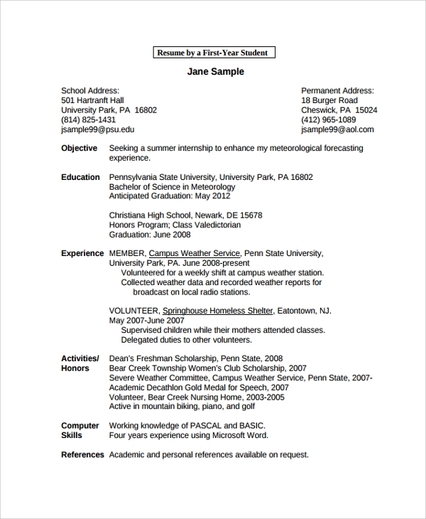Examples First Job Resume Templates: 34+ Documents In PDF, Word