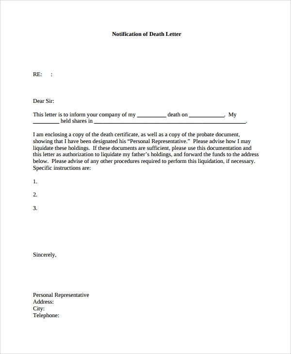 Sample Notify Letter   Documents In Pdf Word