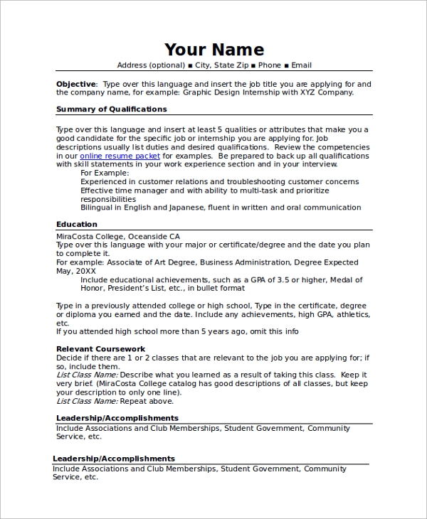 combination resume template high school format for college application - High School Resume Template For College Application 2