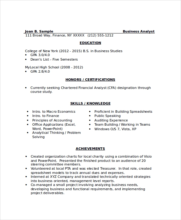 sample resume 34 documents in pdf word