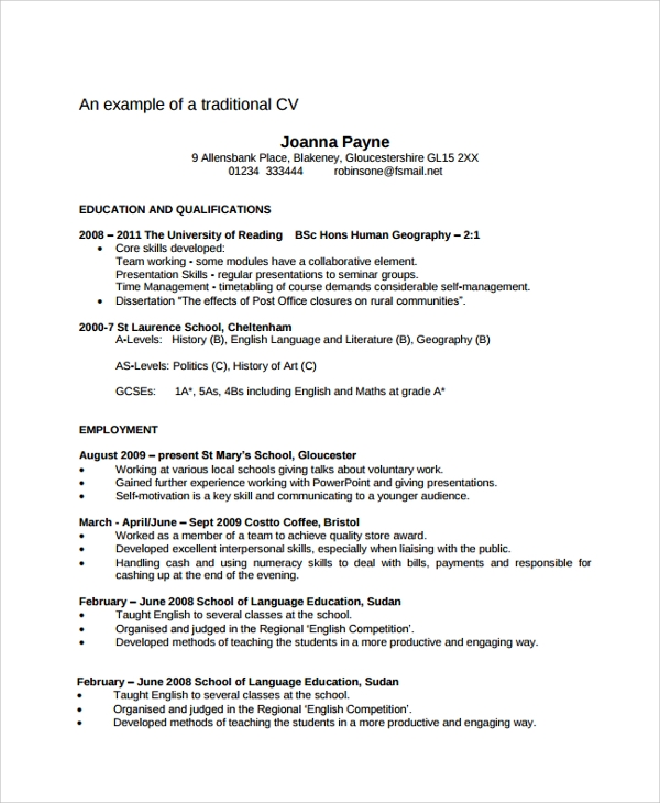 Sample Resume - 34+ Documents In Pdf, Word