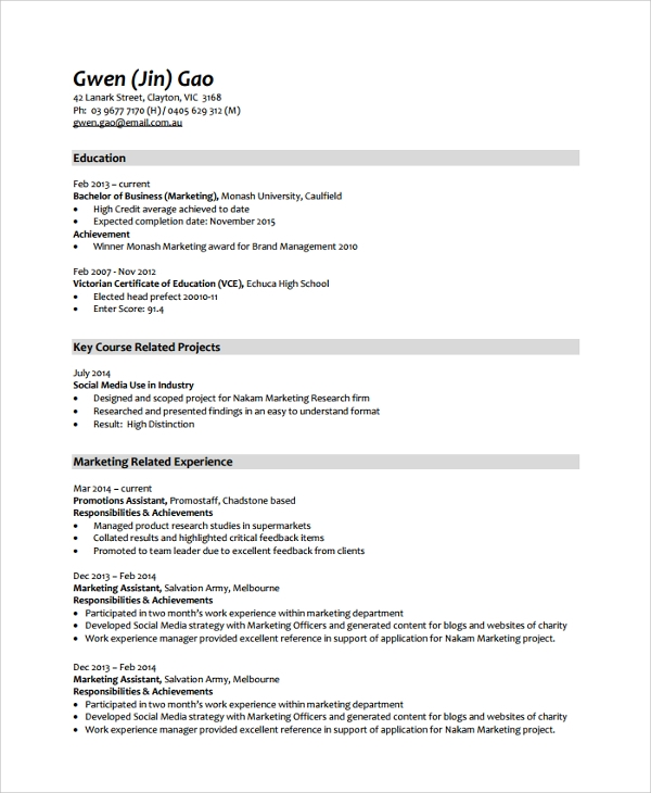 Resume Resume Example Monash sample resume 34 documents in pdf word marketing template monash edu