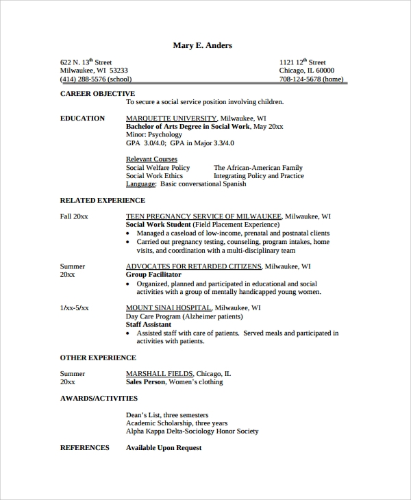 social services resume template