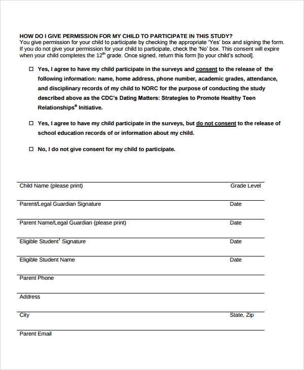 student survey consent form