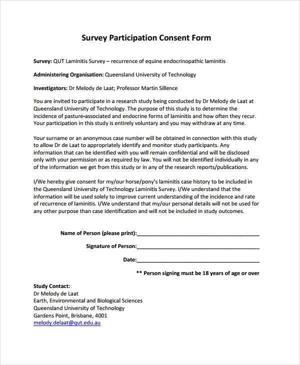 Survey Participation Consent Form
