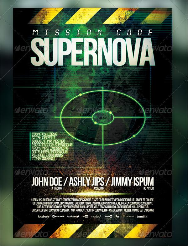 supernova movie flyer template