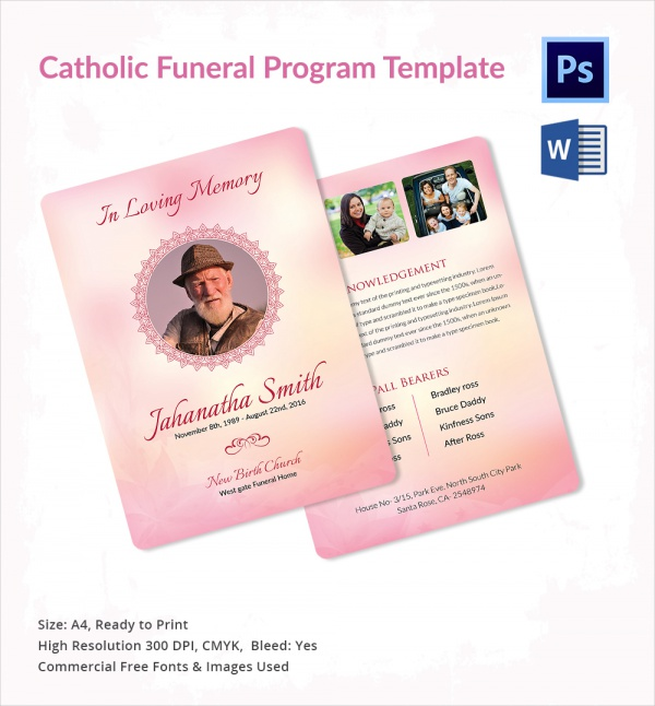 Sample Catholic Funeral Program 12 Documents in PDF PSD WORD – Catholic Funeral Program