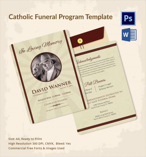 Sample Catholic Funeral Program   Documents In Pdf Psd Word