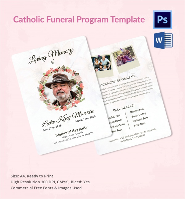 Sample Catholic Funeral Program - 12+ Documents in PDF, PSD, WORD