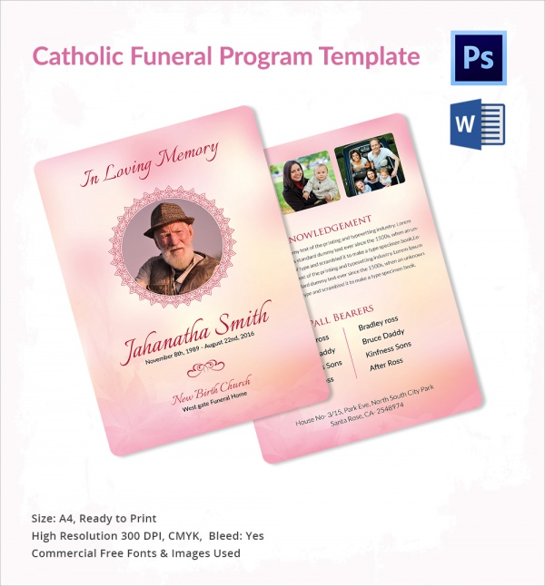 simple catholic funeral program template1