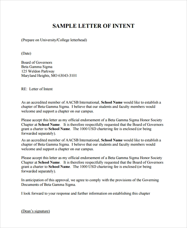 Sample Letter of Intent For University - 7+ Documents in PDF, Word