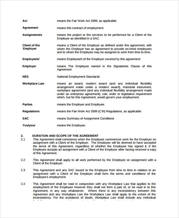 casual work employment agreement