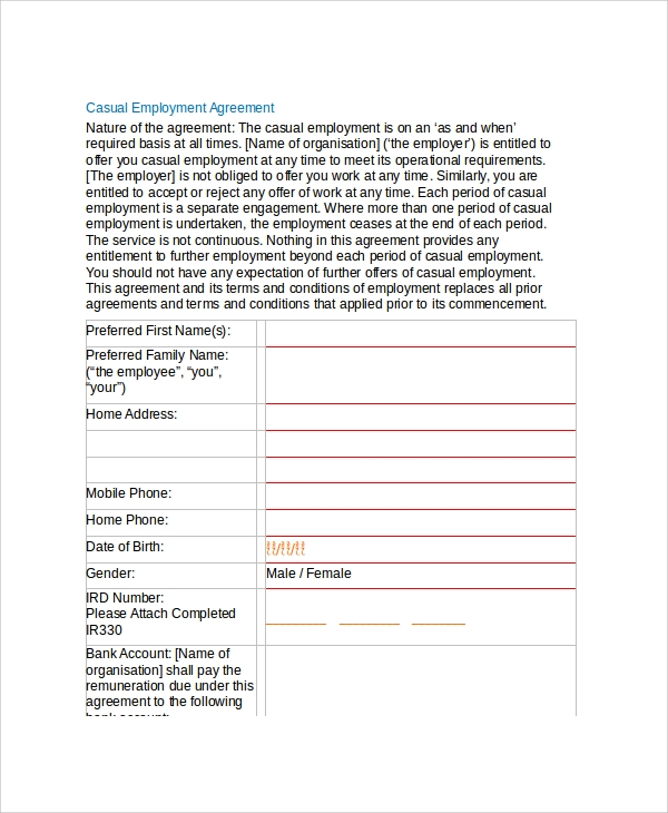 sample casual employment agreement