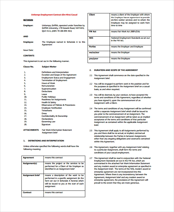 Sample Casual Employment Agreement 8 Documents in PDF Word – Casual Employment Agreement