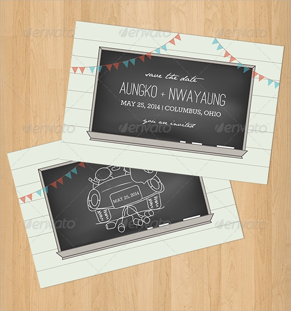 Chalkboard Invitations  Psd Vector Eps