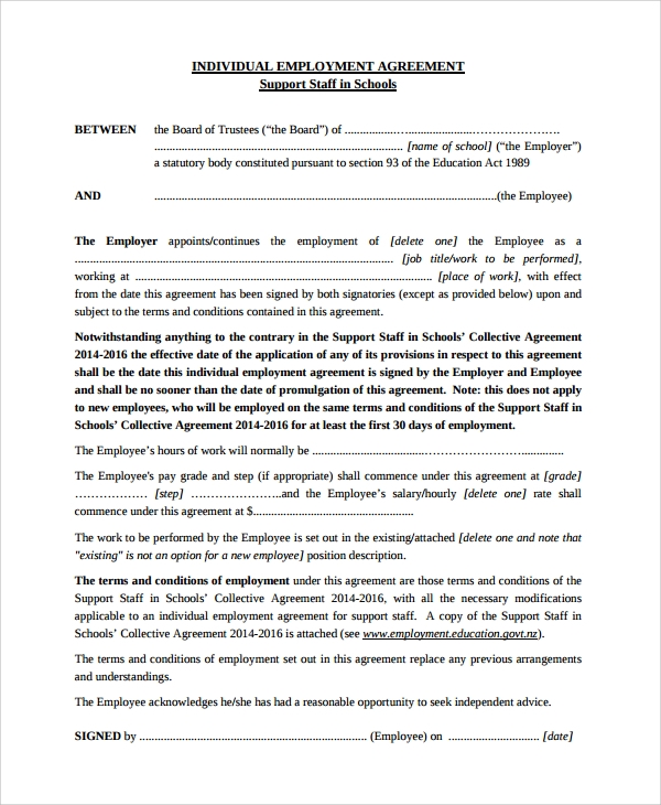 Sample Individual Employment Agreement - 9+ Documents In Pdf, Words
