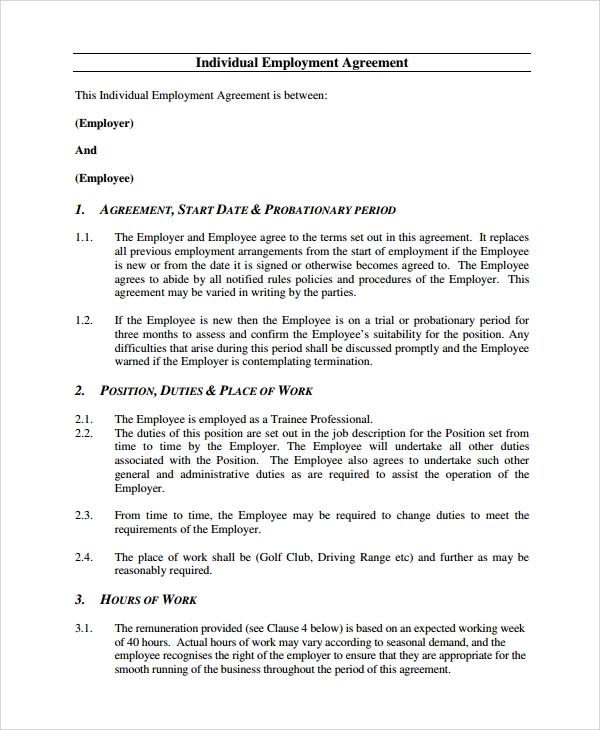 individual employment agreement example