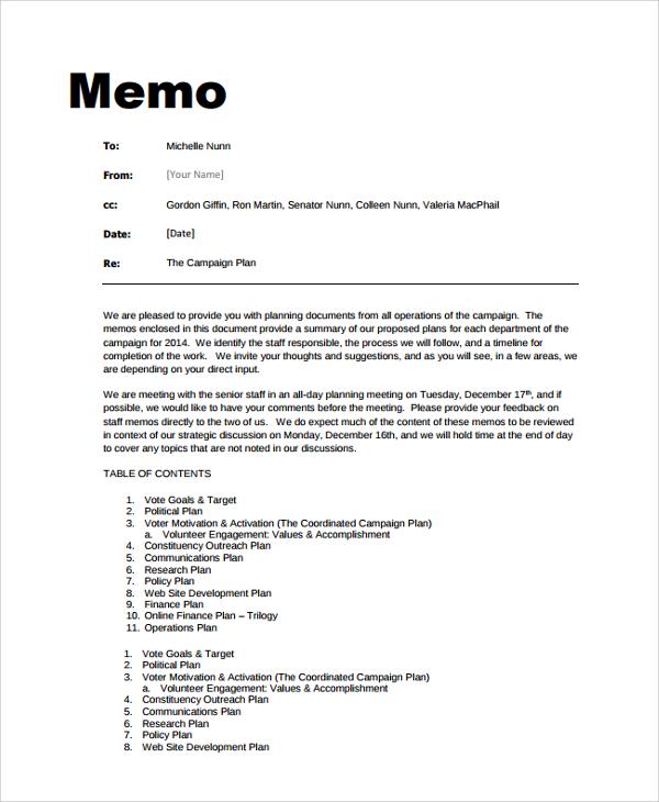 Write my memo samples