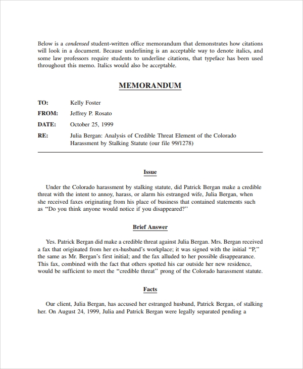 Legal Memo Template Sample Legal Memo SimpleLegalMemoTemplate