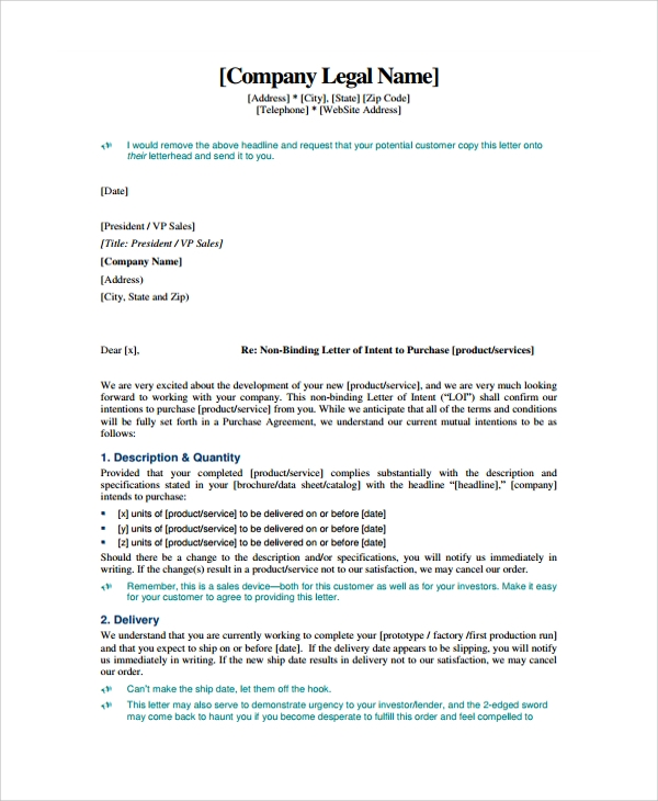 Letter Of Intent Business Contract  Letter Of Intent To Purchase Business Template