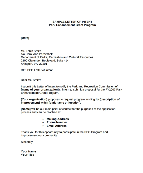 Sample Letter of Intent Contract 8 Documents in PDF WORD – Letter of Intent Contract