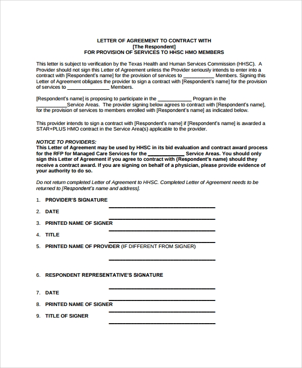 Sample Letter Of Intent Contract   Documents In Pdf Word