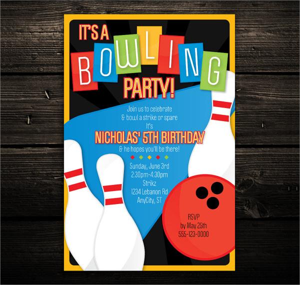 retro bowling invitation 1