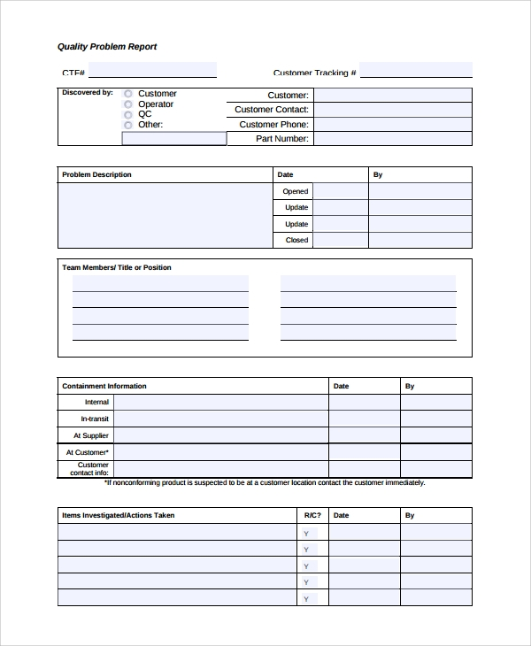 Sample Problem Report   Documents In Pdf