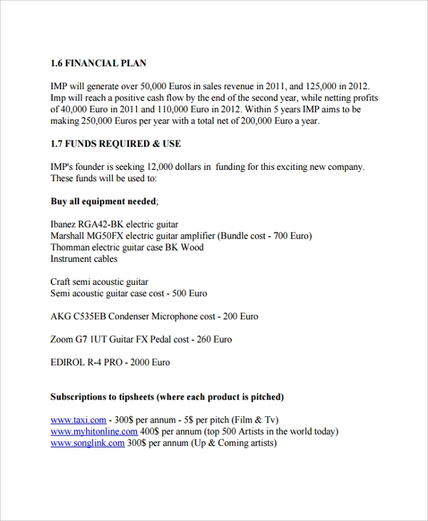 Sample Business Plan   Documents In Pdf